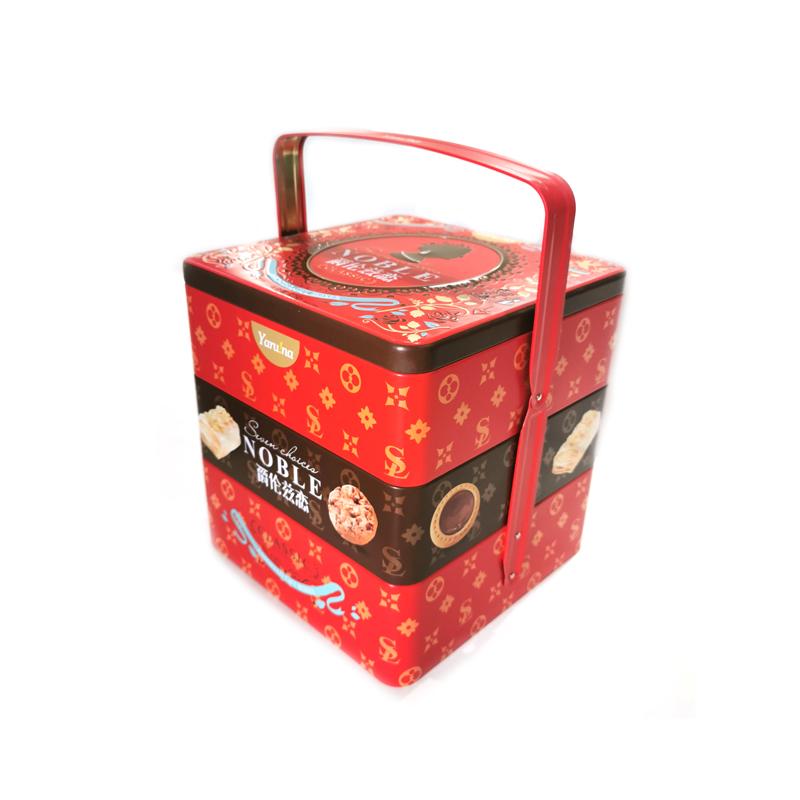 手提三层礼品铁盒