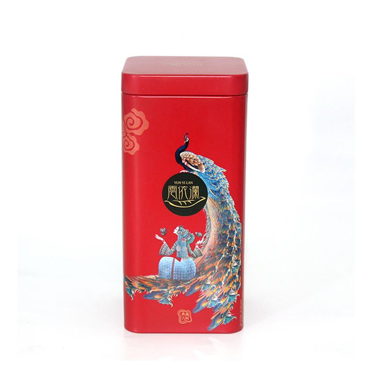 凤凰图案茶叶铁罐